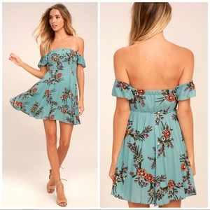 Lulus One Sweet Day Floral Off Shoulder Dress